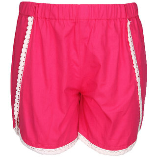 Cool Quotient Girls Fuchsia Courve Hem Lace Detail Poplin Shorts
