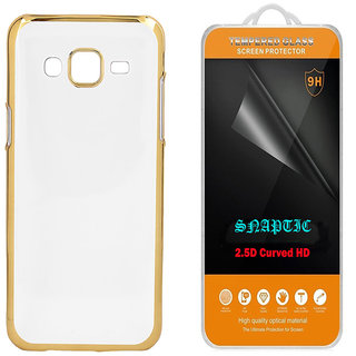 Snaptic Golden Chrome TPU Cover for Reliance Jio LYF Earth 1 with 25D HD Tempered Glass