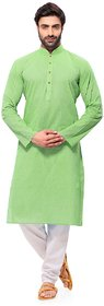 RG Designers Handloom Green Kurta for men