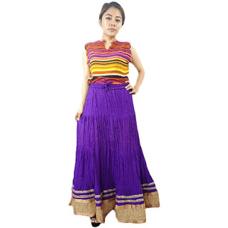 Shopmore Solid Purple Golden Sequence Border Long Skirt