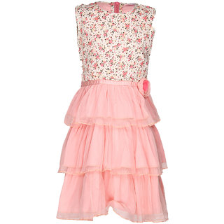 Via Italia Girls Print Peach Print Yoke Net Layers Dress