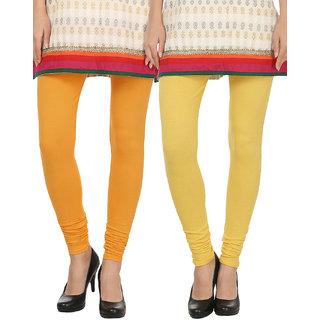 Awadh Enterprises Orange  Yellow Solid Cotton Leggings Pack Of 2