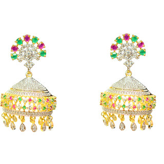 Rhodium Plated Gold Color Jhumkis For Women-JDJSJHUM002