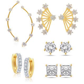 Jewels Galaxy Non Plated White Hoop Earring ForWomen-JG-CB-BLL-35
