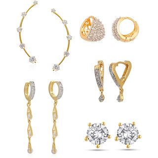 Jewels Galaxy Non Plated White Hoop Earring ForWomen-JG-CB-BLL-50