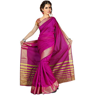 fashionista Multicolor Chanderi Floral Saree With Blouse