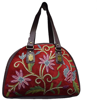 Sofias Maroon ladies Pure Leather handbag emzsofiasembvelvpur10