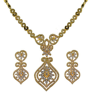 Glitters 24 Ct Gold Plated Cz Necklace Set For Women