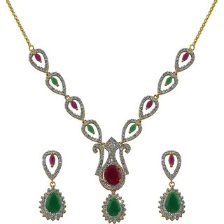 Glitters 24 Ct Gold Plated Ruby, Emerald And Cz Necklace Set For Women