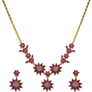 Glitters 24 Ct Gold Plated Ruby And Cz Red Stone Necklace Set For Women