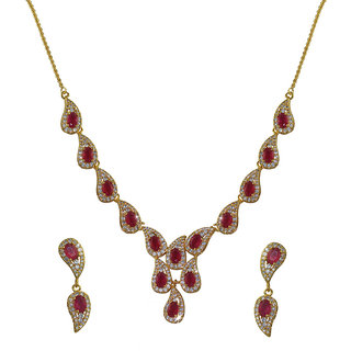 Glitters 24 Ct Gold Plated Cz And Ruby Necklace Set For Women