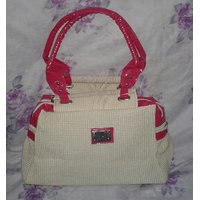 Cream And Pink Handbag With A Free Gift.