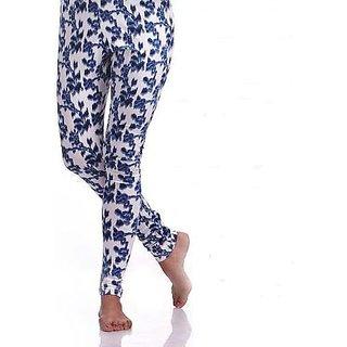 Blue Floral Printed Leggings