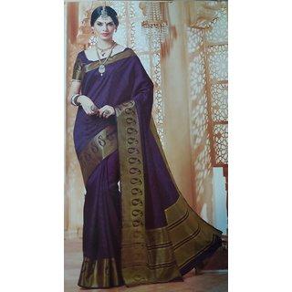 Silk Sarees Blue Silk  Jacquard Traditional Saree by  isha boutique
