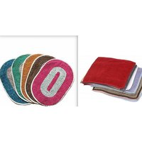 combo of 5 door mats (12X18)  5 face towels (10X10)