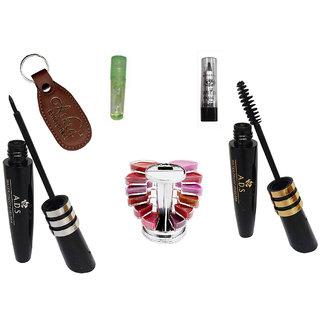 ADS Eyeliner, Mascara, Kajal, Lipgloss Palette, Lip Gloss with Ashra Keychain