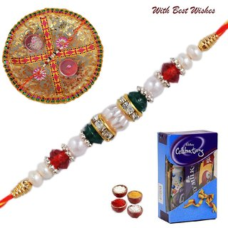 Stone and Pearl Rakhi with Cadburys Celebrations pack 64(gm), Thali and tilak