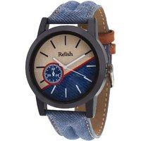 Relish Denim Leather Strap Multicolor Dial Mens Watch RELISH-528