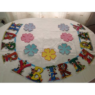 buy flower theme happy birthday banner and name plate multi color