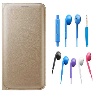 Premium Golden Leather Flip Cover for Lava A71 with Noise Cancellation Earpods with Mic