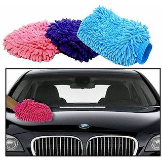Microfiber Glove for Car Cleaning Washing (Set of 3)-- S4d