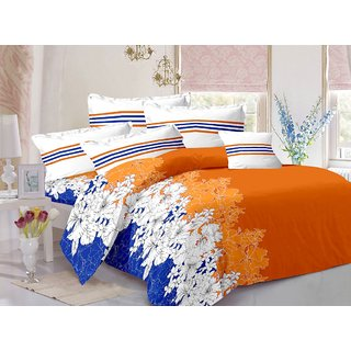 Valtellina Cotton Floral Orange Double Bedsheet with 2 Contrast Pillow Covers(TC-129)