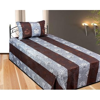 Fresh From Loom Cotton single Bedsheet With Pillow Cover brown colour