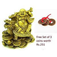 Laughing Buddha Sitting on Dragon Tortoise for good luck free Lucky coins