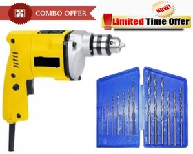 Special Combo Offer! Shopper52 10 mm Drill Machine With 13Pcs Drill Bit Set - CMDRL13B