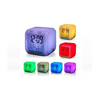 LED 7 Color Changing Digital Alarm Clock With Calendar Temperature Table Clock