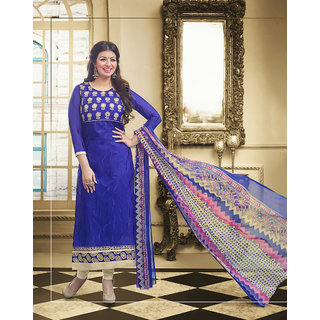 Vaikunth Blue And Beige Coloured Chanderi Embroidered Party Wear Salwar Suit