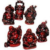 Laughing Buddha --set of 6 buddha -(Cherry Colour)-ProsperityFeng Shui