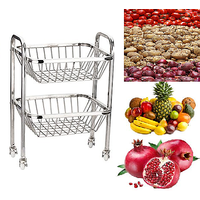 FRUIT BASKET TROLLEY 2 TIER STAINLESS STEEL