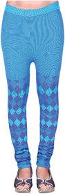 Sam Infotech Polyester lycra seamless knitting designer blue leggings