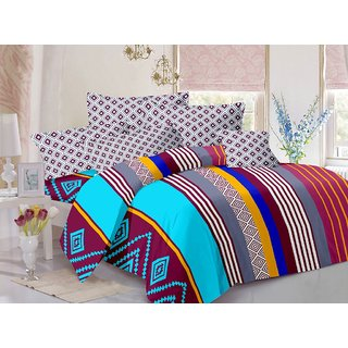 Valtellina Cotton Traditional  Multicolor Double Bedsheet with 2 Contrast Pillow Covers(TC-129)
