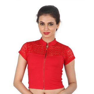 Biyu Red Zipped Front Open Laced Strechable Hosiery Blouse  Crop Top