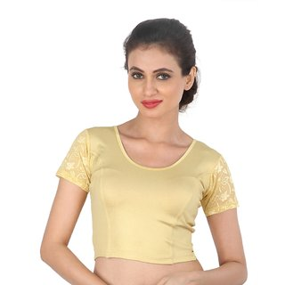 Biyu Gold Lace Shimmer Strechable Cap Sleeves Hosiery Blouse  Crop Top