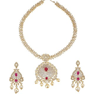 Biyu Designer Pearl Ruby American Diamond Gold Plated Long Necklace Set