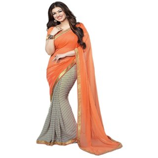 Snapshopee Orange Georgette Printed Saree With Blouse