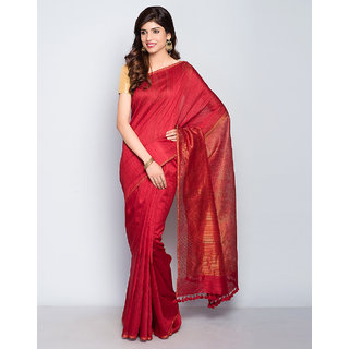 Silk Cotton Border Sari ( Red)