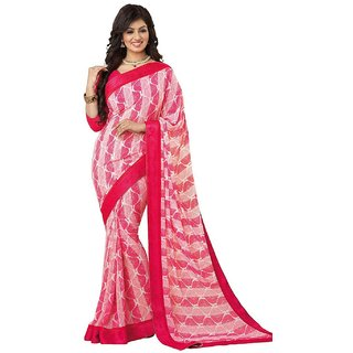 Snapshopee Red Georgette Printed Saree With Blouse