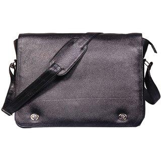 4e381ebaa49f Buy Leather World 15 inch Trendy Black Genuine Leather Laptop Messenger Bag  Online - Get 50% Off