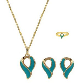 Glitters 24 Ct Gold Plated Leaf Shape Blue  Enamel Baby / Kids Jewllery Set  BST1026