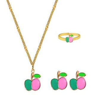 Glitters 24 Ct Gold Plated Apple Shape Pink and Green  Enamel Baby / Kids Jewllery Set  BST1030
