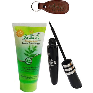 ADS 1598 Eyeliner, Neem Face Wash with Ashra Keychain