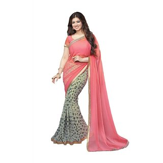 Snapshopee Pink Georgette Printed Saree With Blouse