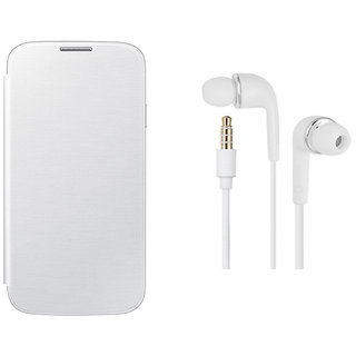 MuditMobi Premium Flip Cover With Earphone For- Micromax Bolt A66 - White