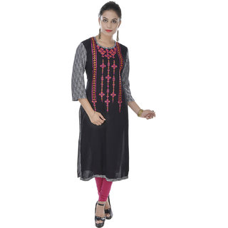 Beautiful Embroidery Black Rayon  Kurti From the house of Sagee