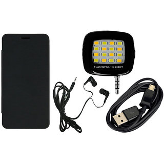 MuditMobi Flip Cover With Selfie Flash Light, EarPhone  Data Cable For- Lenovo Vibe S1 - Black