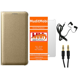 MuditMobi Premium Leather Flip Case Cover With Screen Protector,Earphone  Aux Cable For- Oppo Neo 5 -Golden